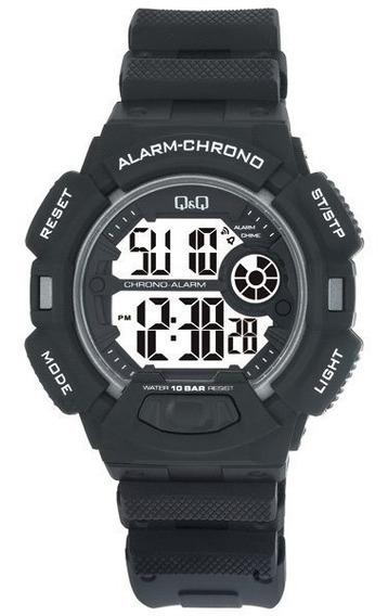 Relógio Pulso Q&q M132j001y Digital Borracha Preto Original
