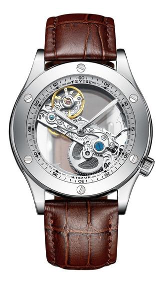 Nuevo Reloj Original Tevise Casual Automatico Correa Piel