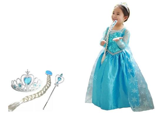 Vestido Elsa Frozen Infantil Fantasia+ Coroa Varinha Trança