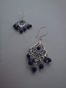Aretes Plata Oxidada .925 Con Piedra Azul