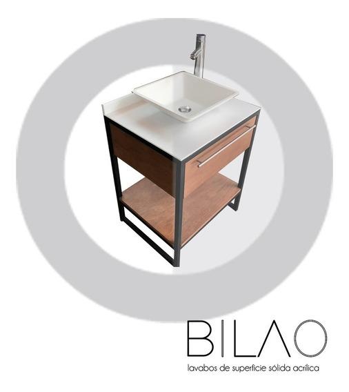 Lavabo Superficie Solida Eco Cuadrado (incluye Mueble)