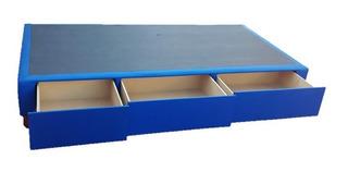 Box Sommier 1 Plaza 0,80x1,90 C/ 3 Cajones