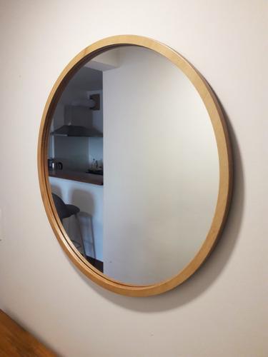 Espejo Redondo Madera_  Reflejo_elipse De 60 Cm Diametro