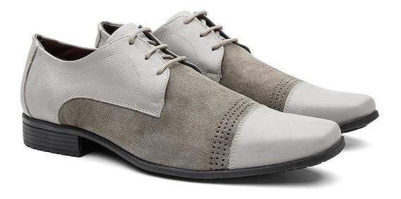 Sapato Social Masculino Couro Cadarço Com Camurça Conforto