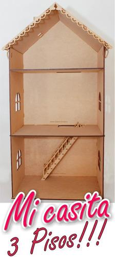 Casa Muñecas Barbie 3 Pisos Armado Fácil Mdf 5mm Fibrofacil