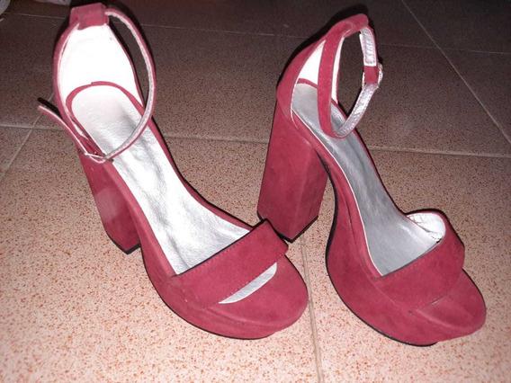 Zapato Plataformas Rojo Gamuzado