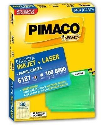 Etiqueta Ink-jet/laser Carta 12,7x44,4 6187 Pimaco 100 Folha