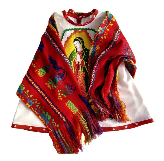 Batita Guadalupana Con Rebozo Bordado Niña Virgen Guadalupe
