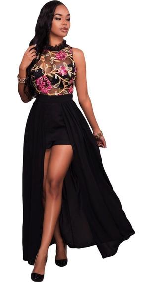 Sexy Palazzo Short Vestido Transparencia Negro Elegante Moda