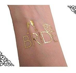 6 Tatuaje Temporal Dorados Bride Team Despedida Soltera