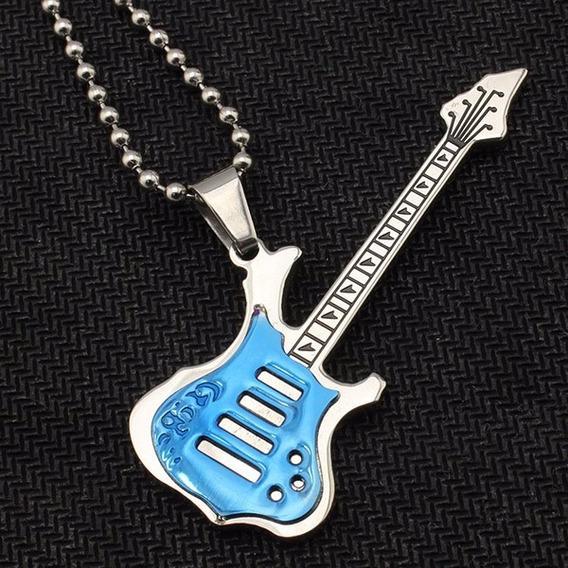 Colar Rock Story Corrente Pingente Guitarra Aço Inoxidável!