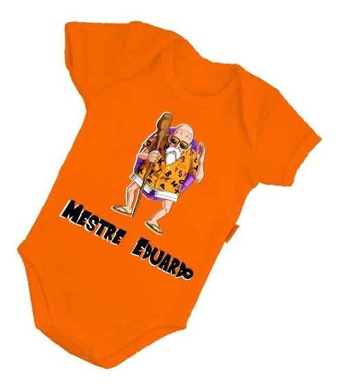 Body Bebê Dragon Ball Mestre Roupinha Bori Nome Neném B324lj