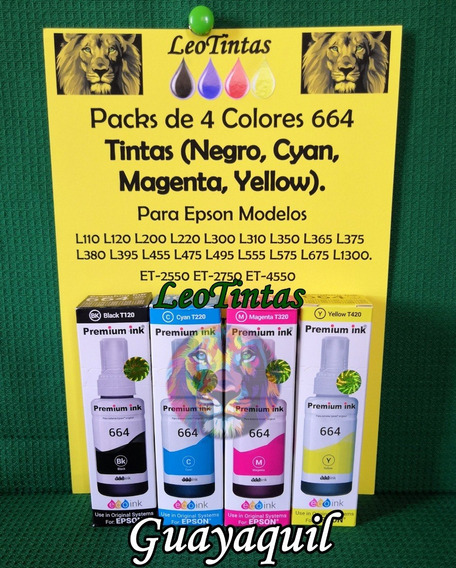 Tintas Para Epson Packs De 4 Colores Para L220 L355 L555 Etc