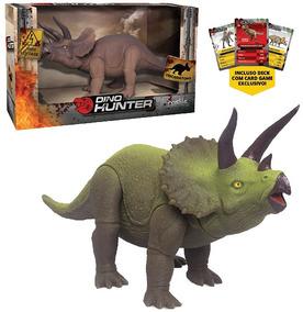 Dinossauro Triceratops Dino Hunter Colors Com Card Na Caixa