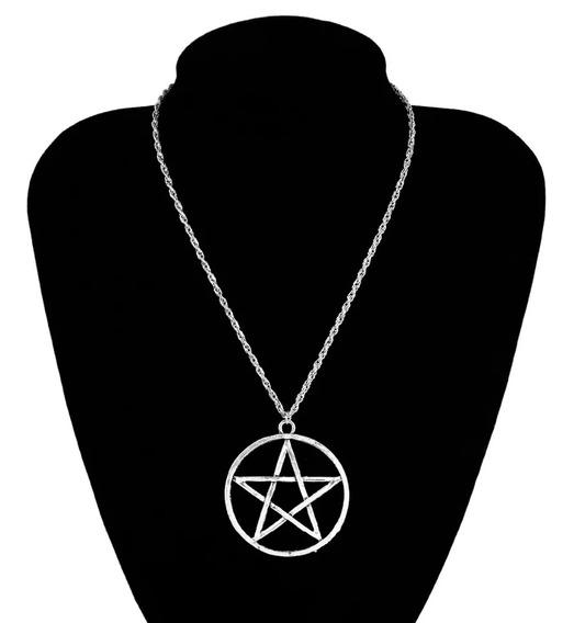 Colar Corrente Pingente Pentagrama 5cm Wicca Cor Prateado