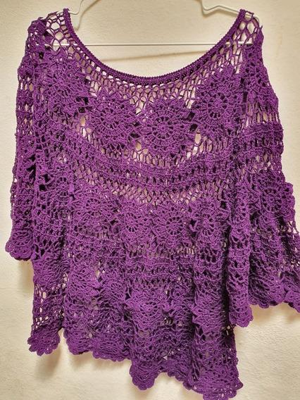Blusa Poncho Capa Circular Crochet Para Toda Ocasión
