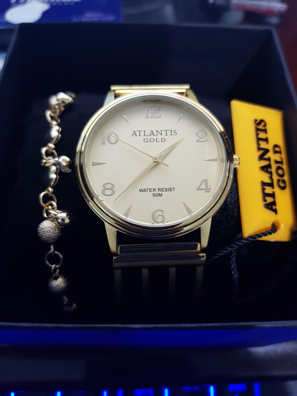 Relógio Atlantis Feminino Gold Open Com Pulseira E Caixinha