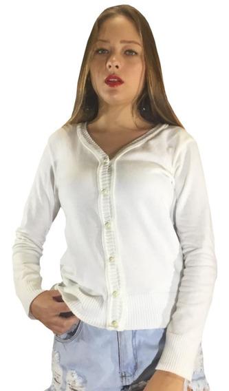 Terninho Feminino Preto Casaquinho De Botao Blusa De Tricot