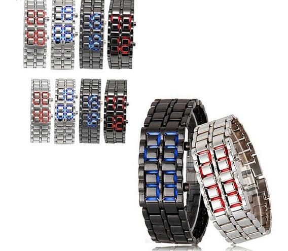 Relógio Led Digital Pulseira Iron Samurai Inoxidável
