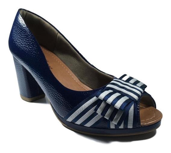 Sapato Scarpin Peep Toe Usaflex Verniz Azul Original