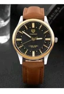 Cod 901 - Reloj Yazole Negro Malla Cuero - Joyas Margaret