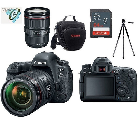 Canon 6d Mark Ii 24-105mm Is Ii + Bolsa+tripé+64gb Nota Fiscal