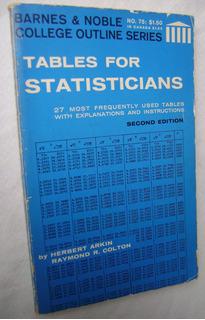Tables For Statisticians - Herbert Arkin (en Inglés)