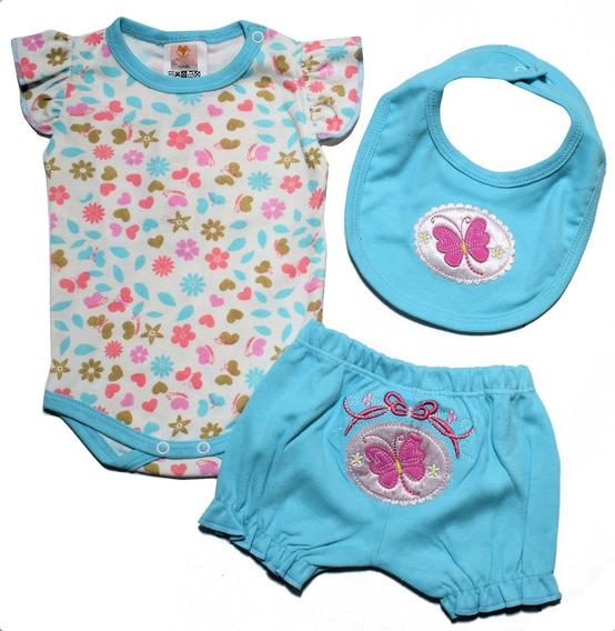 Roupa De Bebê Menina Conjunto Body Curto C/babador E Bermuda