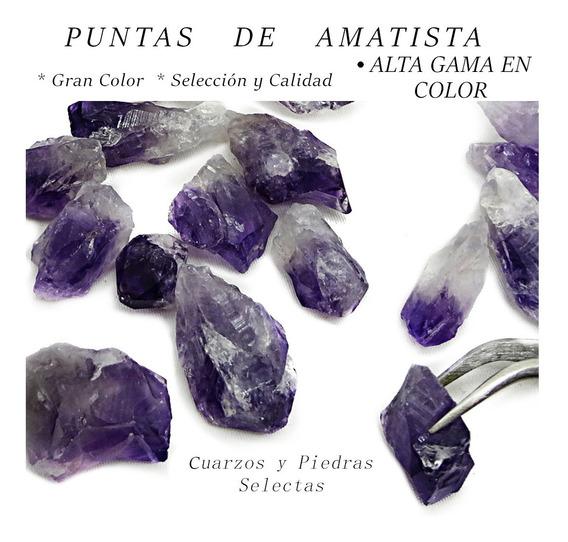 6 Punta Cuarzo Amatista Punta En Bruto Color Profundo 75g