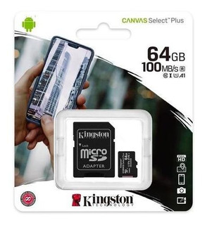 Memoria Micro Sd Kingston 64gb 100mb/s Clase 10 Canvas Plus