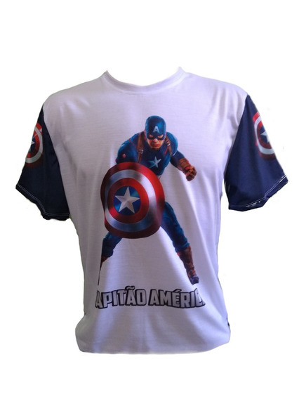 Camiseta Adulto Capitão America Personalizada