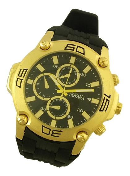 Relógio De Pulso Masculino Novana Pulseira Em Borracha B5722