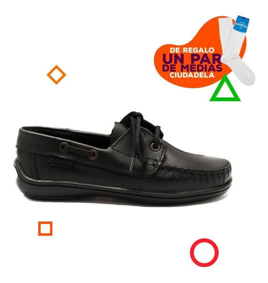 Zapatos Náuticos Scarpino Con Cordones De Niños 34 Al 38