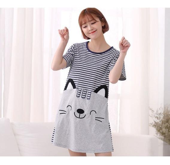 Ropa De Dormir Gato Raya Casa Camiseta Vestido Sueño Tee