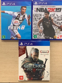 3 Jogos De Ps4 - Fifa 19, Nba 2k19 E The Witcher 3