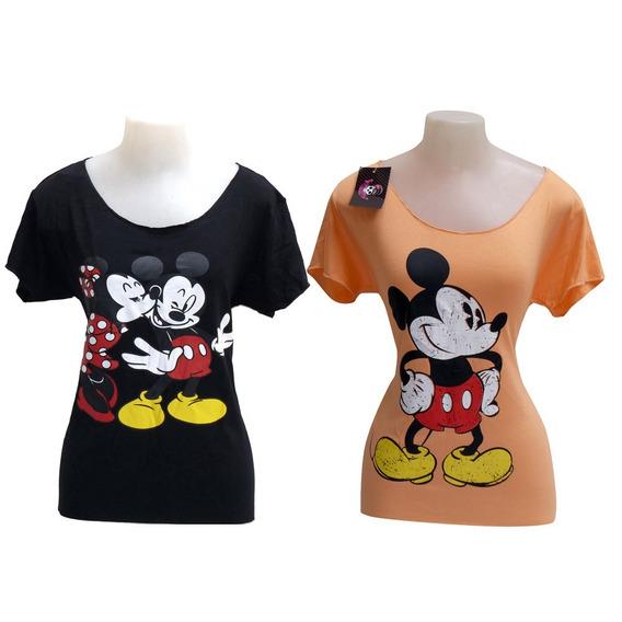 2 Camiseta Mickey E Minnie Feminina