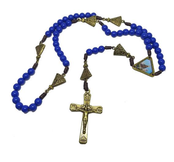 Terço Nossa Senhora Aparecida Azul Cruz Em Ouro Velho