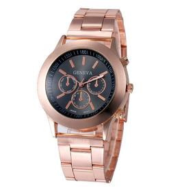 Relógio Feminino Rosé Geneva Aço Analógico Quartz Barato