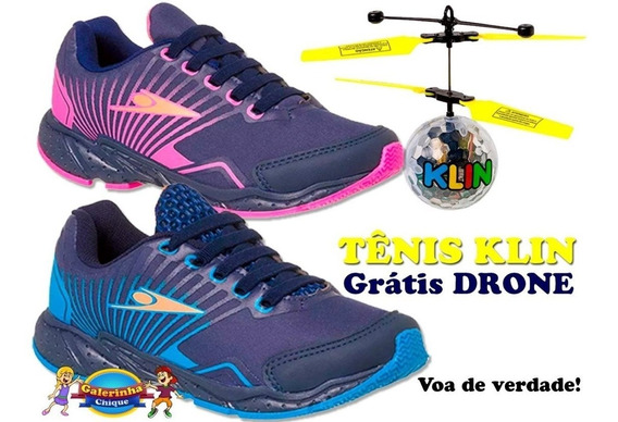 Tenis Drone Mania Klin Azul Ou Pink Grátis Brinquedo Drone