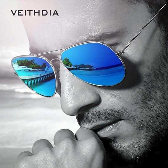 Óculos Azul De Sol Aviador Proteção Uv400 Veithdia Original.