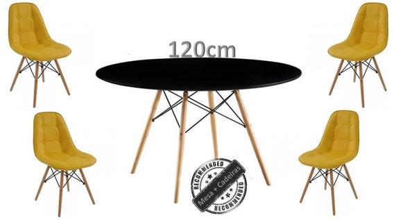 Mesa Redonda Eames Eiffel 120cm Tampo Preto + 4 Cadeiras Eam
