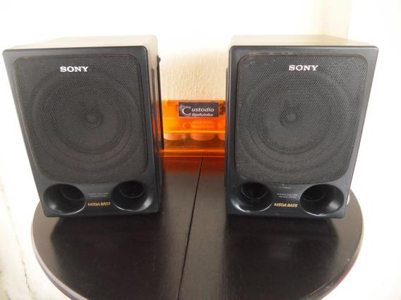 Par De Caixas Acústicas Antigas Sony Mega Bass Anos 90
