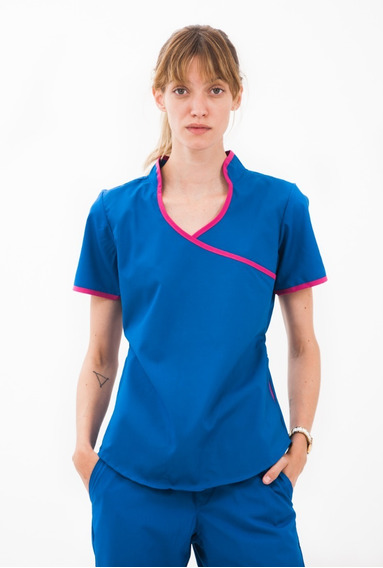 Jazmín Poly Azul Francia / Fucsia - Ambo De Diseño Oh! Wear