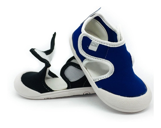 Zapatilla Sandalia Lycra Con 2 Velcros Azul Plumitas 18/23