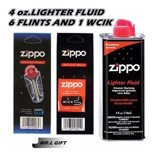 Gasolina Zippo + Paquete 6 Piedras + Mecha Kit Promocion