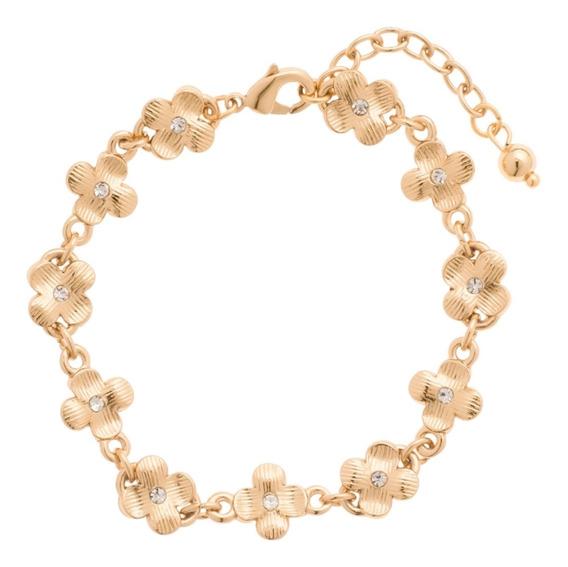 Nice 419306 Pulsera Fleur Con Cristales Y 4 Baños Oro 18 K