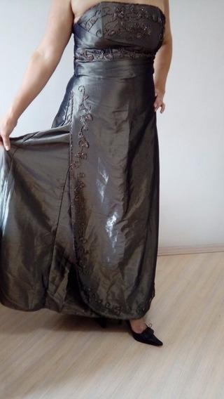 Vestido De Festa Longo Bordado Tomara Que Caia Com Echarpe