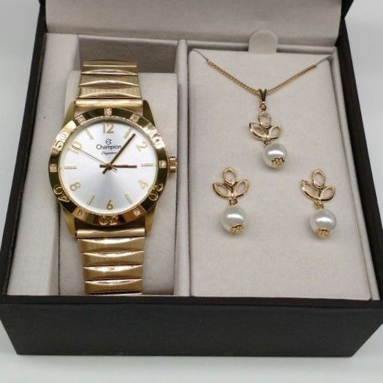 Relógio Champion Aço Dourado Pulseira Elastica Cn27849w