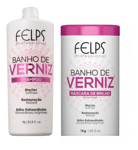 Felps Kit Banho De Verniz Shampoo 1 Litro + Máscara 1kg