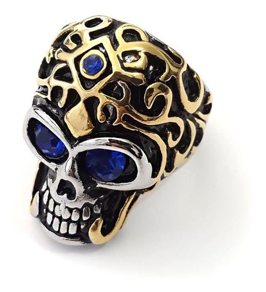 Anillo De Acero Inoxidable Calavera Skull Zirconia Azul